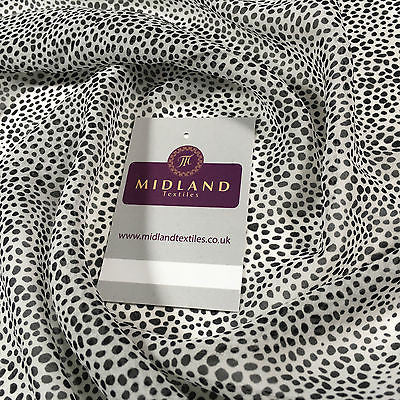 "White and Black dotted Georgette Chiffon Printed Dress Fabric 58"" M401-38 Mtex - Midland Textiles & Fabric"