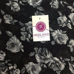 "Black and Grey floral printed crepe chiffon printed fabric 58"" M401-15 Mtex - Midland Textiles & Fabric"