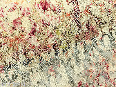"Floral rose print on soft peach lace 58"" Mtex M186-4 - Midland Textiles & Fabric"