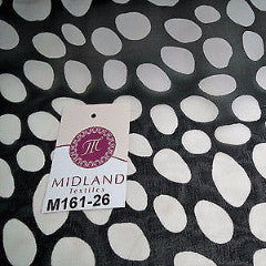 "Black and White Pebble dot printed chiffon fabric 44"" wide M161-26 Mtex - Midland Textiles & Fabric"