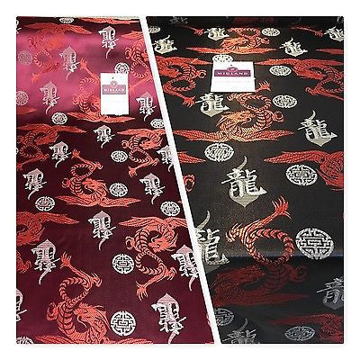 "Chinese Dragon with Chinese Words brocade Silky Satin dress fabric 45"" M395 Mtex"