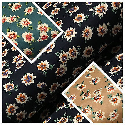 "Floral vintage Ditsy 100% Cotton Poplin Printed Craft dress Fabric 58"" M674"