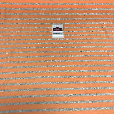 "Lightweight Orange and grey striped cotton jersey dress fabric 58"" M720-4 - Midland Textiles & Fabric"