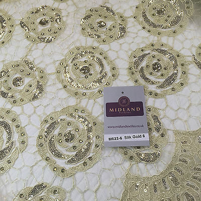 "Vintage embellished Mesh net Double scalloped edging Dress Fabric 58"" Wide M622 - Midland Textiles & Fabric"