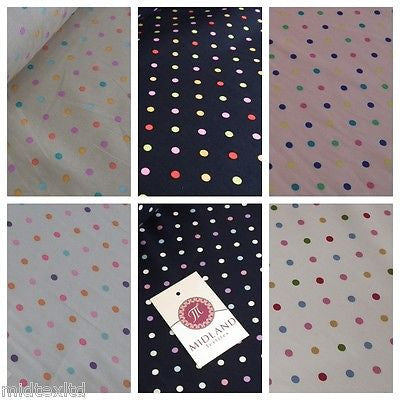 "5mm Spot Polka Dots Multi Coloured Dress Craft 100% Cotton Poplin Fabric 45"" M21"