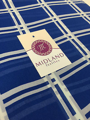 "Cobalt and off White Window pane check chiffon high street printed 58"" M401-3 - Midland Textiles & Fabric"