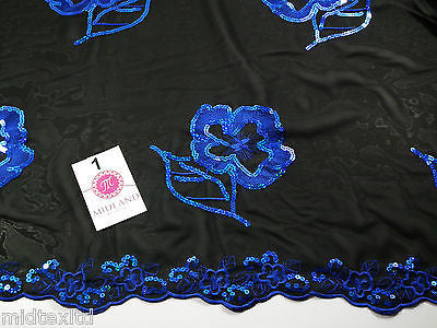 "Black Georgette with floral sequins and scalloped edging dress fabric 54"" Mtex - Midland Textiles & Fabric"