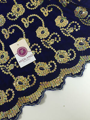"Gold Sequin Embellished Scalloped edge Micro Velvet 40"" Wide  M47 Mtex - Midland Textiles & Fabric"