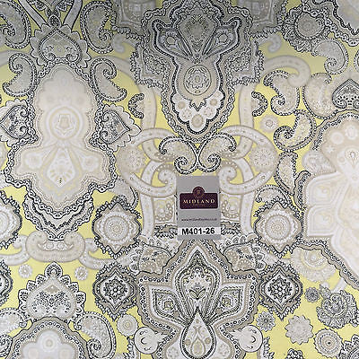 "Daffodil Yellow & White Ornamental Light Chiffon Printed Fabric 58"" M401-26 Mtex - Midland Textiles & Fabric"