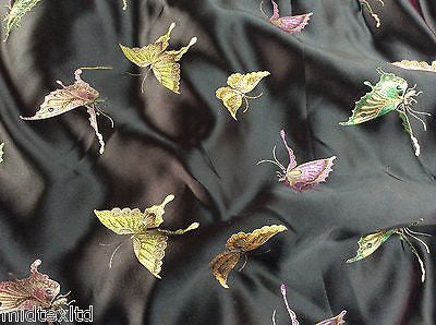 "CHINESE ORIENTAL BUTTERFLY BROCADE SILKY SATIN DRESS FABRIC 44"" wide Mtex M57 - Midland Textiles & Fabric"