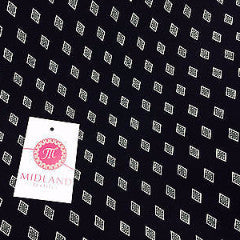"Navy Diamond print Polyester Crepe de-chine 44"" wide M145-25 - Midland Textiles & Fabric"