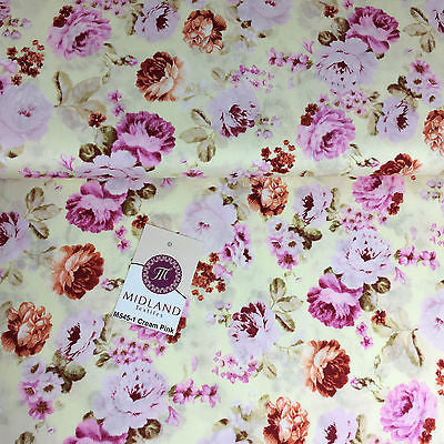 "Vintage Floral Rose Shabby Chic Printed 100% Cotton Poplin Fabric 44"" Wide M545 - Midland Textiles & Fabric"