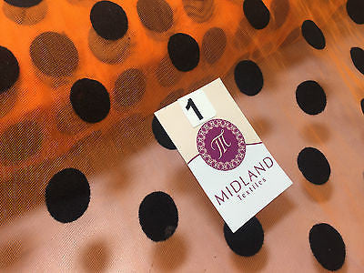 "Polka Dot Tulle Net Mesh flock print Fabric 43"" wide M165 Mtex - Midland Textiles & Fabric"