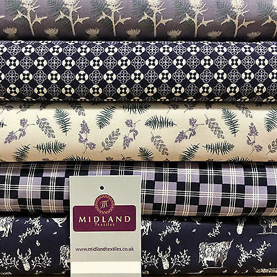"Mauve Highland Scottish Tartan 100% Cotton craft & quilting fabric 45"" M678 - Midland Textiles & Fabric"