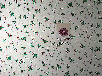 "Ditsy Floral Printed on white Super Soft Polycotton Fabric 45"" Wide M542 Mtex - Midland Textiles & Fabric"