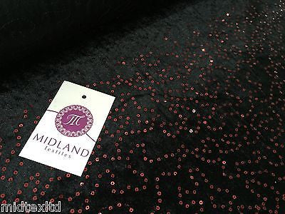 "Black Velvet with sequins fabric 58""wide per metre Red-Blue-Green-Pink M15 Mtex - Midland Textiles & Fabric"