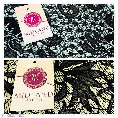 "Black Floral Bonded Satin Backed lace strech  58""  M10-11 - 12 Mtex - Midland Textiles & Fabric"
