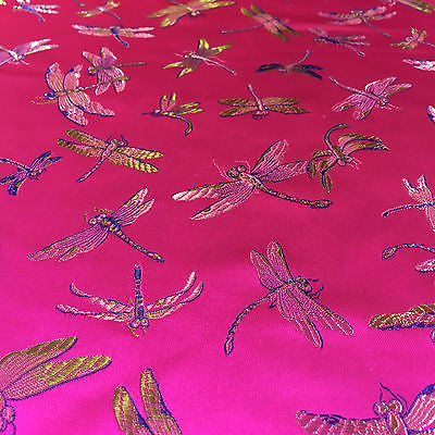 "CHINESE ORIENTAL GOLD DRAGONFLY BROCADE SILKY SATIN DRESS FABRIC 44"" M163 - Midland Textiles & Fabric"