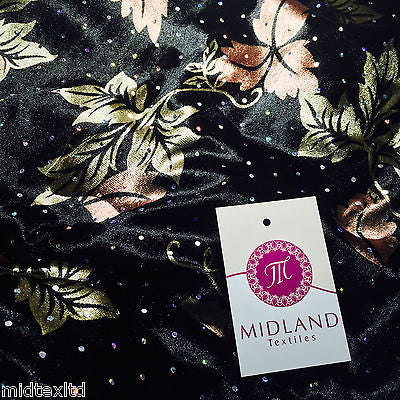 "Velvet Black and Bronze leaf print with silver sequins 58"" M16-7 Mtex - Midland Textiles & Fabric"