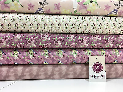 "Pink Watercolour Floral 100% Cotton Craft & Patchwork fabric 44"" Wide M561 Mtex - Midland Textiles & Fabric"