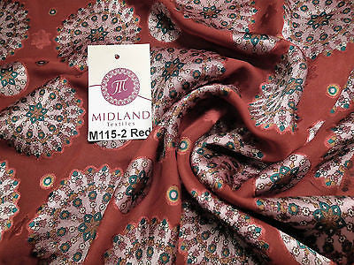 "Burnout Satin Chiffon Mandalas Printed Dress Fabric 58"" M115 Mtex - Midland Textiles & Fabric"