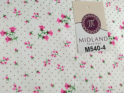 "Floral vintage small dot print on white Polycotton fabric 45"" Wide M540 Mtex - Midland Textiles & Fabric"
