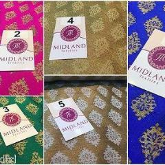 "Indian Gold paisley flower banarsi metallic brocade fabric 44"" M390 Mtex - Midland Textiles & Fabric"