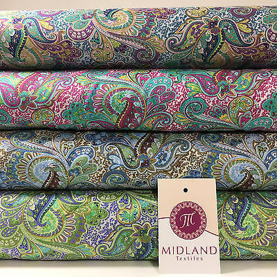 "Retro Floral Paisley printed 100% Cotton Lawn fabric 45"" Wide M548 Mtex - Midland Textiles & Fabric"