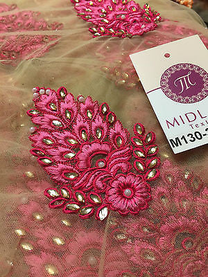 "Indian Embellished Embroidered Gold Base Tulle net dress fabric 40"" Wide M130 - Midland Textiles & Fabric"