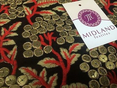 "Micro Velvet Antique Gold Sequins With Anchor Gold Embroidery 36"" M46 Mtex - Midland Textiles & Fabric"