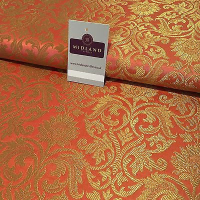 "Indian Floral gold metallic banarsi brocade faux silk fabric 44"" Wide M692 - Midland Textiles & Fabric"