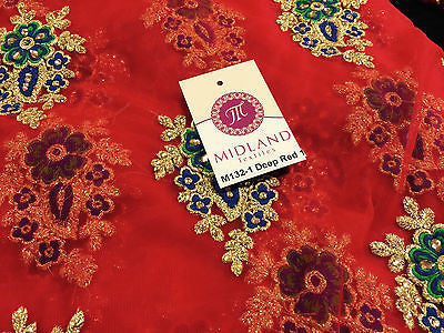 "Indian Stone Embellished Embroidered Tulle net dress fabric 44"" Wide M132 - Midland Textiles & Fabric"