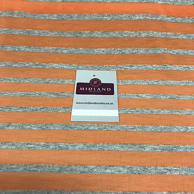 "Lightweight Orange and grey striped cotton jersey dress fabric 58"" M720-4"
