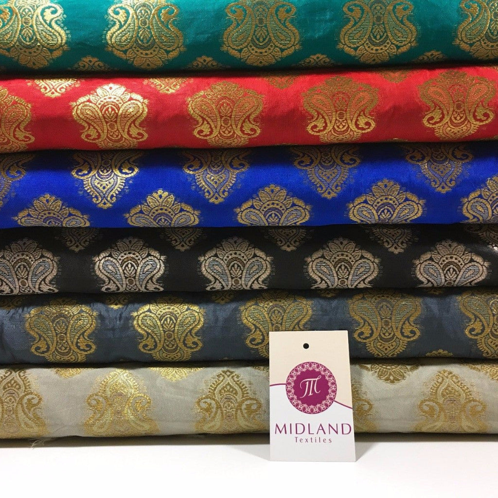 "Indian Paisley Ornamental Metallic faux silk banarsi Brocade 44"" Wide M606 - Midland Textiles & Fabric"