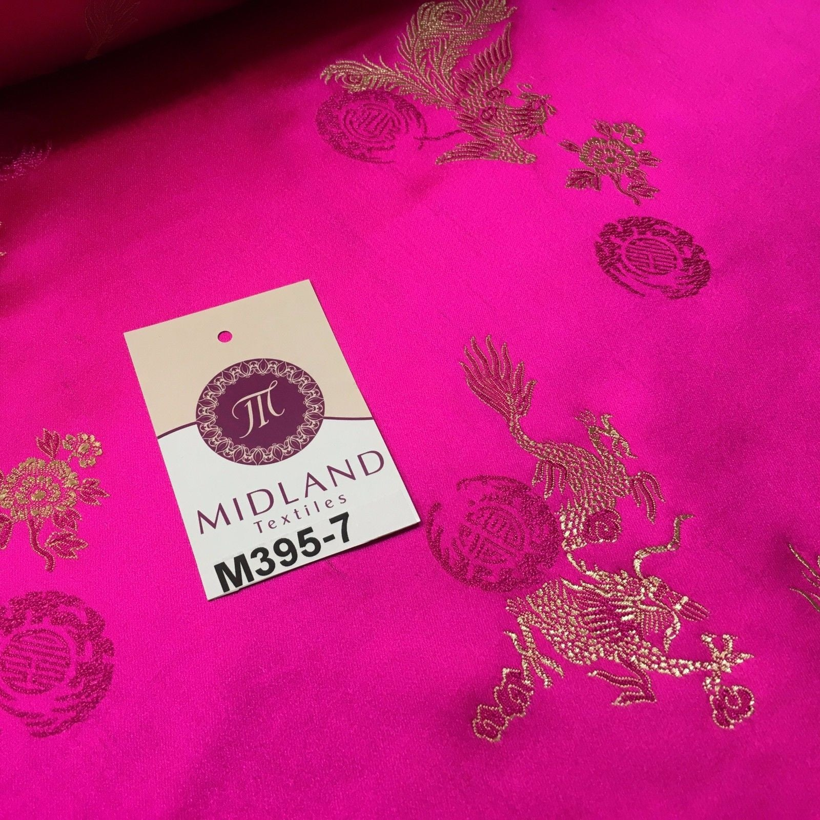 "Traditional Cerise Pink Chinese Oriental Satin brocade 45"" Wide M395-7 Mtex - Midland Textiles & Fabric"