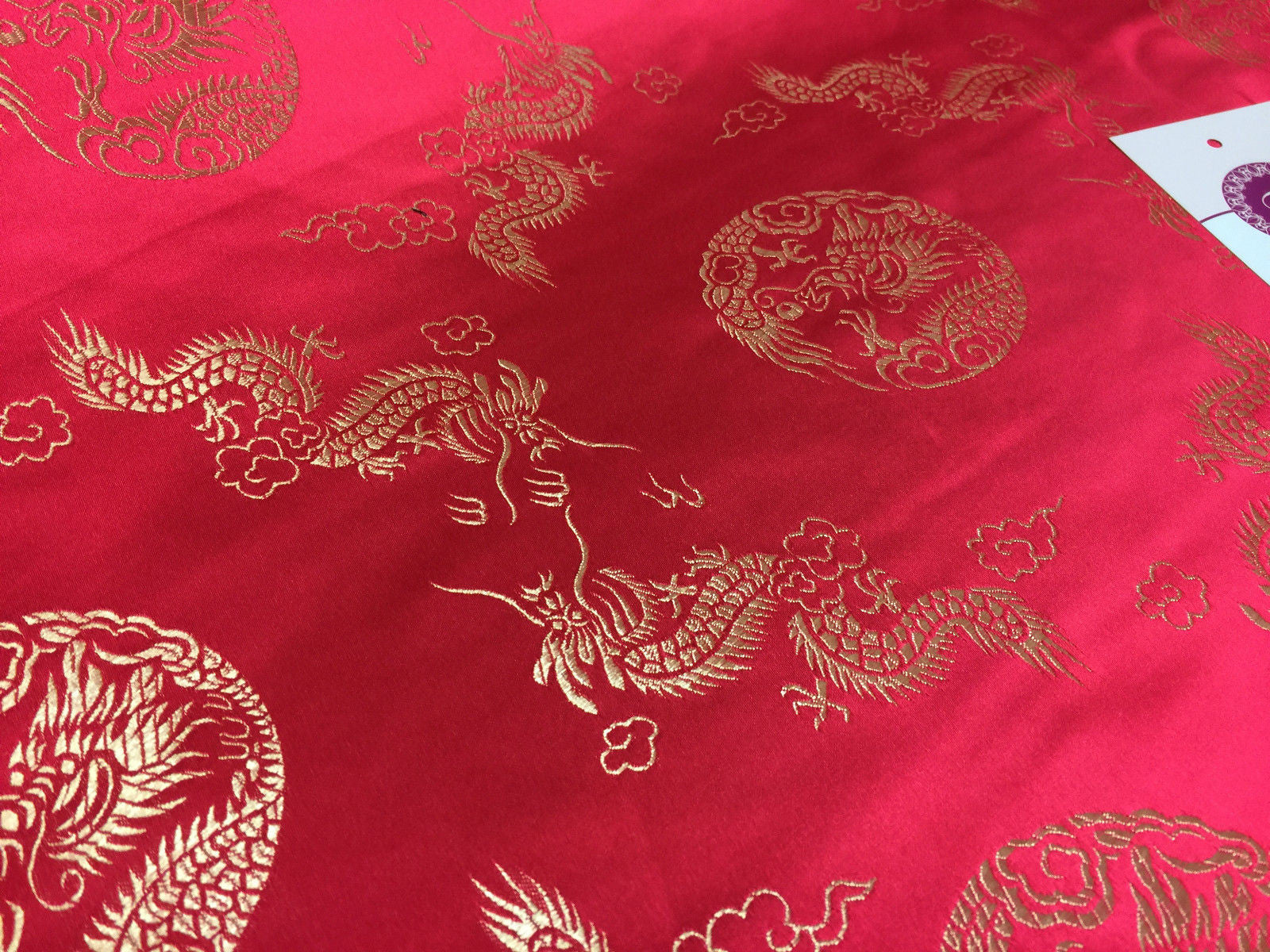 "Traditional Oriental Gold Dragon Silk Satin Brocade 45"" Wide M60 Mtex - Midland Textiles & Fabric"