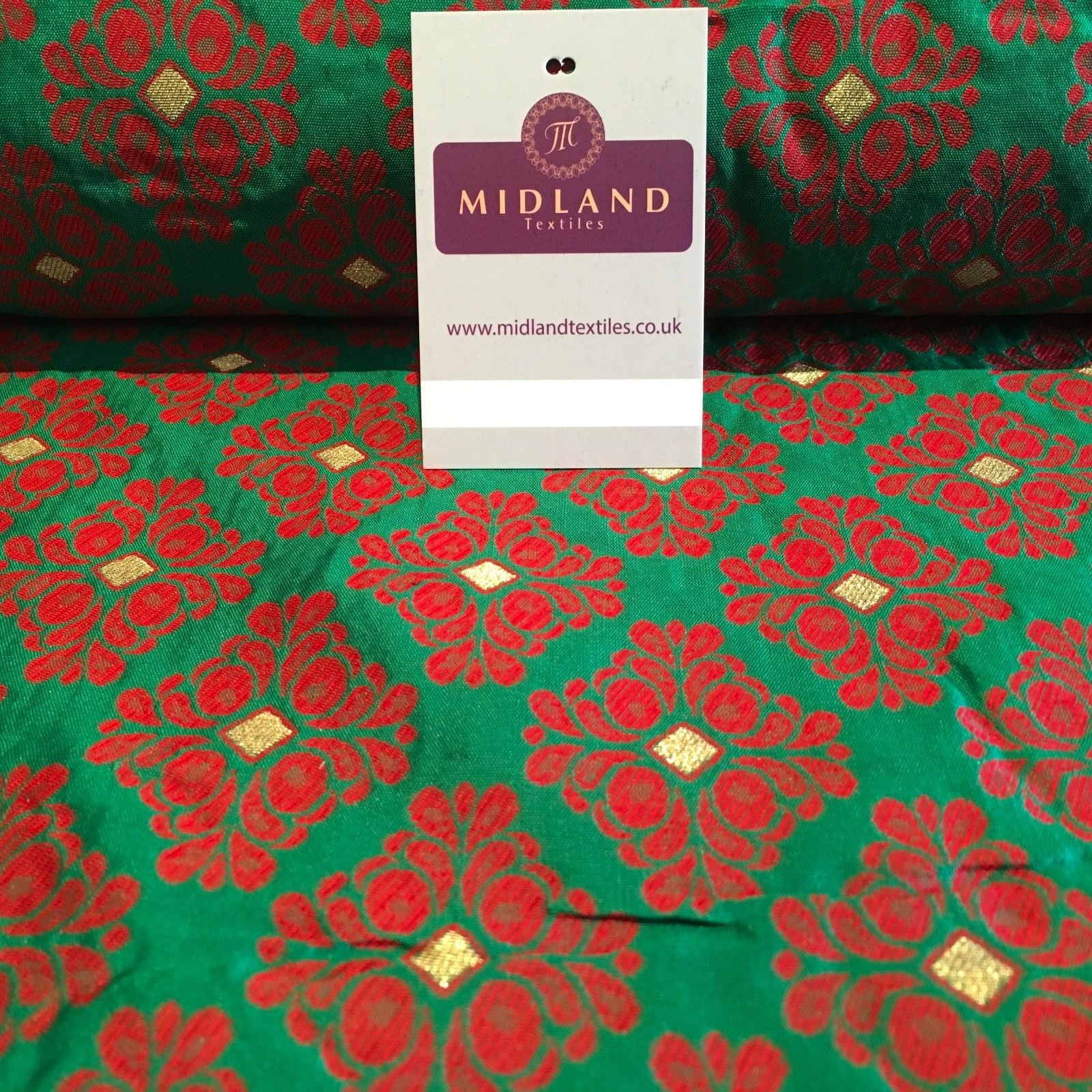 "Indian Floral Gold geometric Jacquard brocade waistcoat fabric 45""  M724 Mtex - Midland Textiles & Fabric"