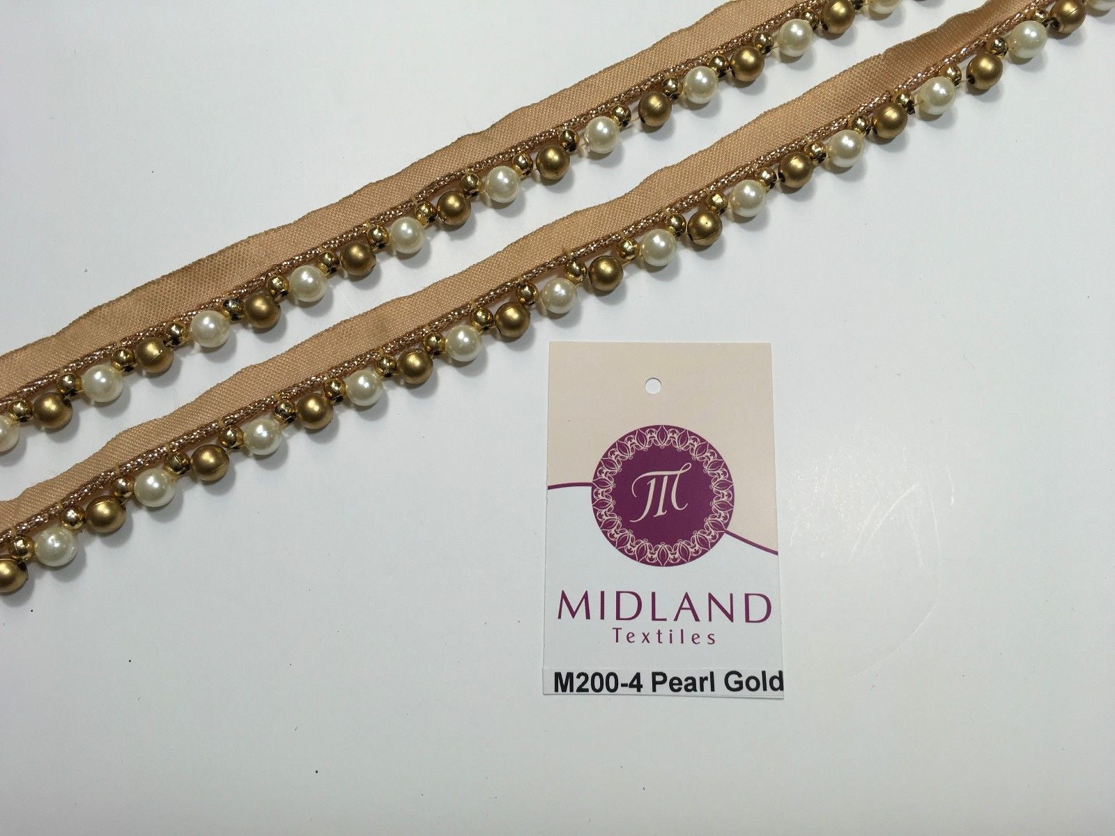 Vintage Pearl beaded Ribbon Crafting, Edging and Trimmings M200 Mtex - Midland Textiles & Fabric