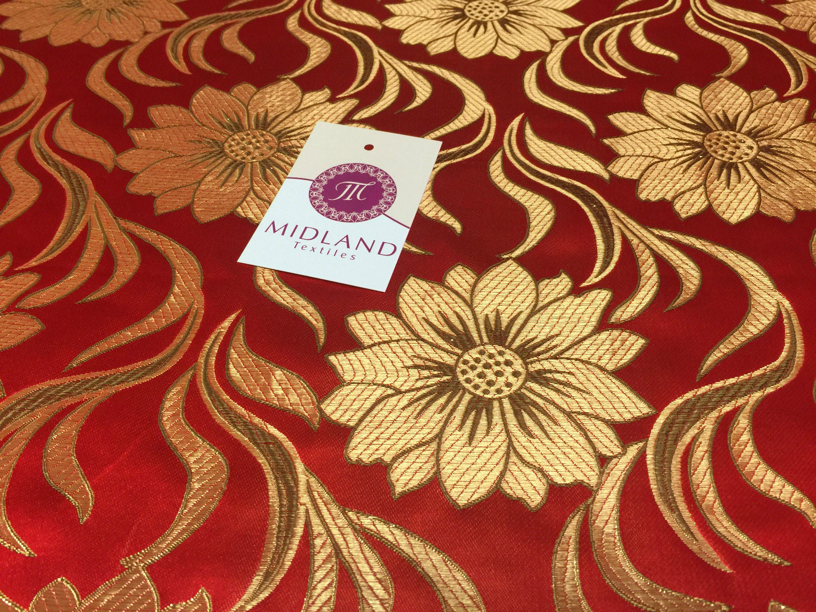 "Red and gold floral Metallic jacquard brocade Fabric 58"" Wide M380 Mtex - Midland Textiles & Fabric"