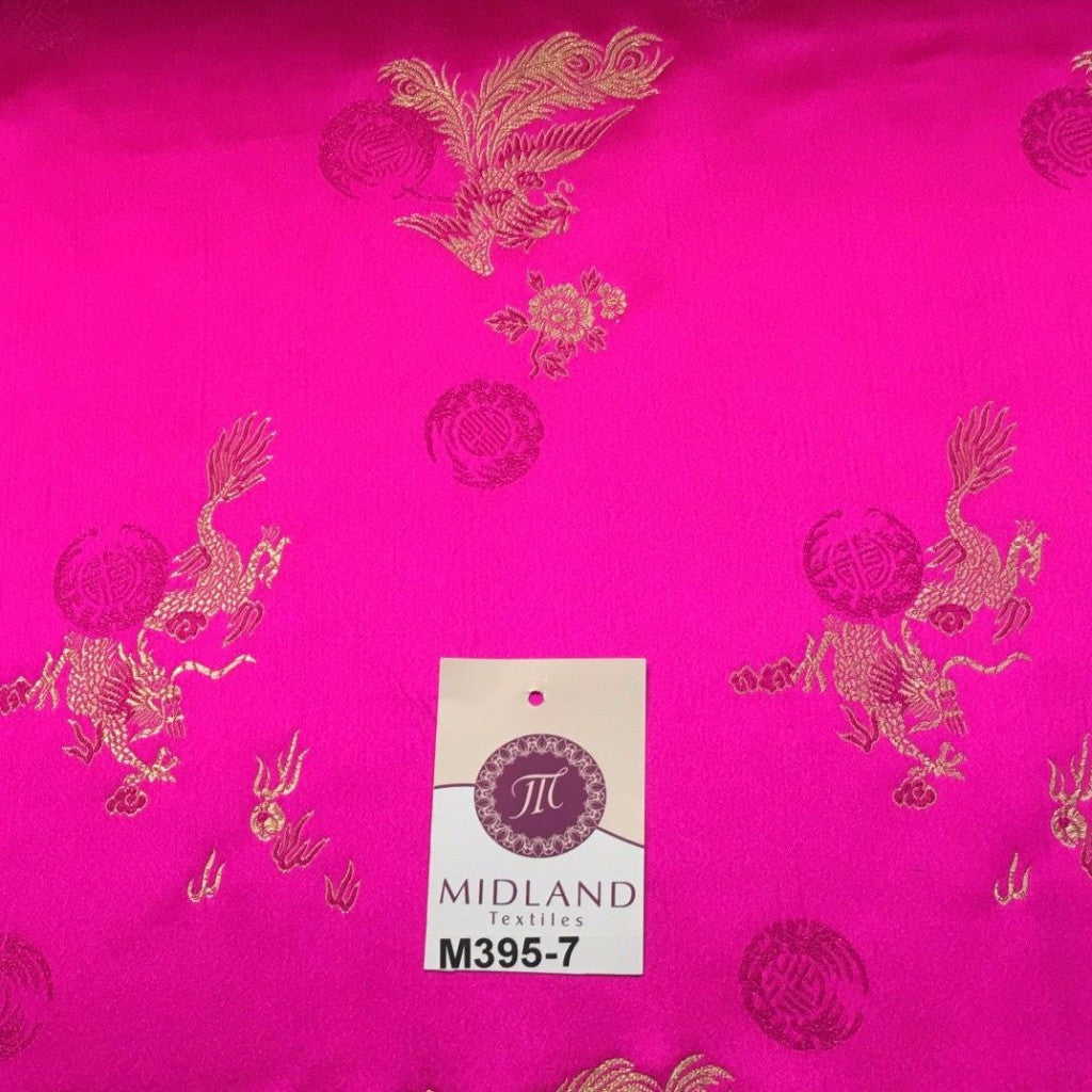 "Traditional Cerise Pink Chinese Oriental Satin brocade 45"" Wide M395-7 Mtex"