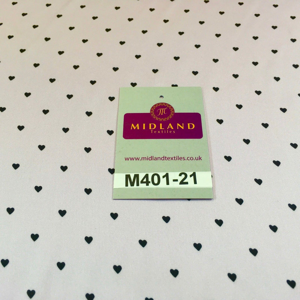 "Lilac Silky Smooth Black Heart Printed Satin Dress fabric 58"" M401-21 Mtex - Midland Textiles & Fabric"