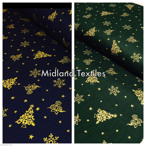 Christmas Trees & Festive Shiny Snowflake 100% Cotton Fabric Blue-Green M275/6