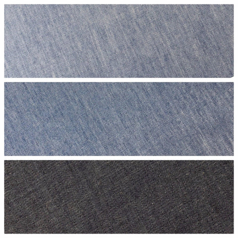 4oz Washed Denim Light-medium-dark blue 100% Cotton Fabric 146cm wide  M615 Mtex