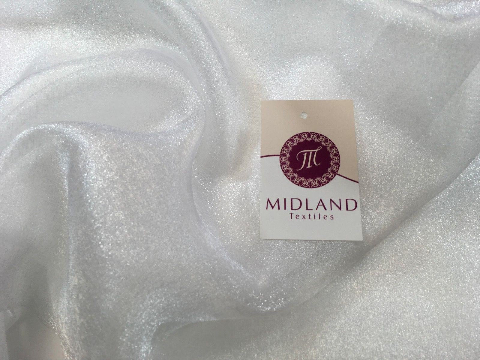 "CRYSTAL ORGANZA WEDDING BRIDAL DANCE VEIL DRESS FABRIC MATERIAL 45"" WIDE M111 - Midland Textiles & Fabric"