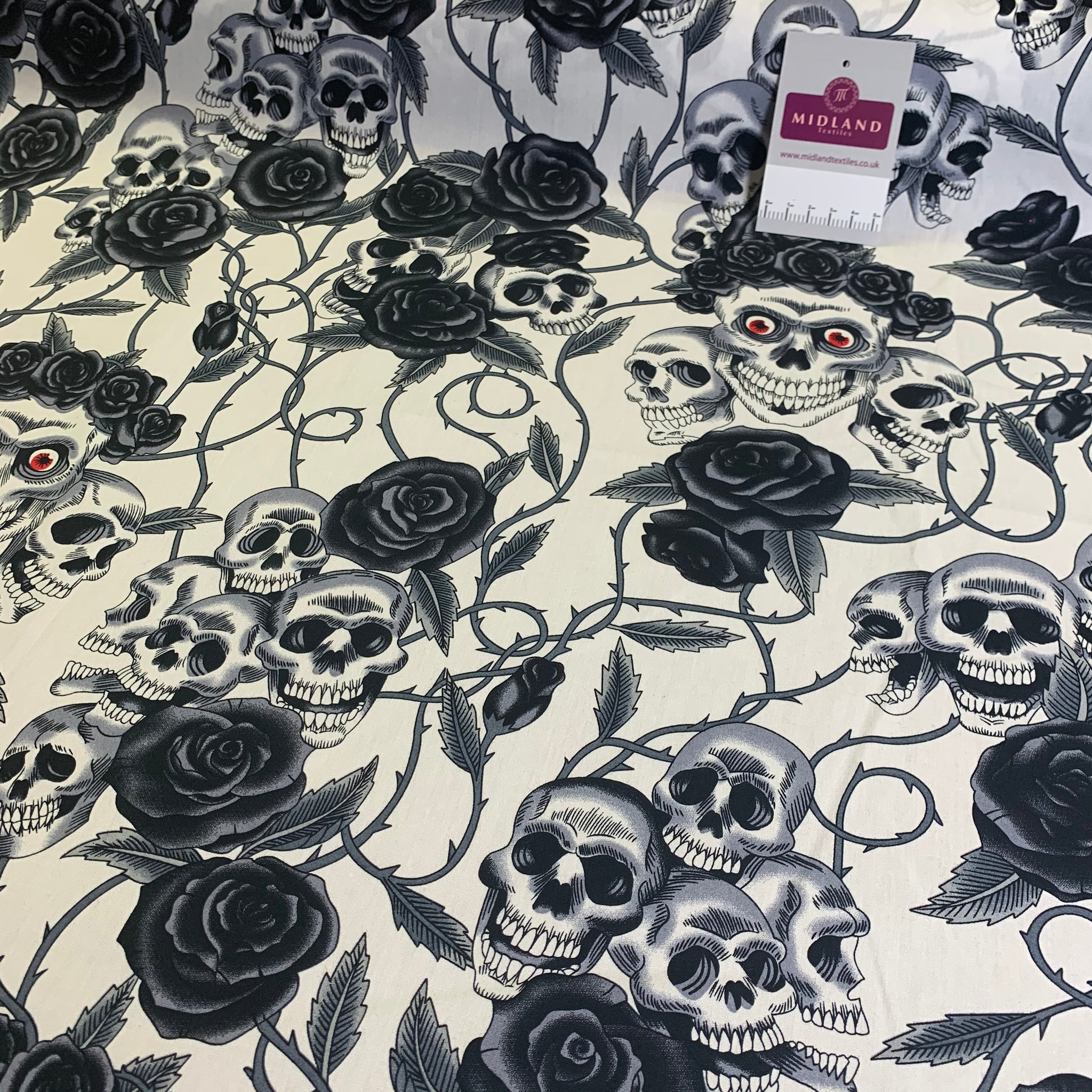 Halloween Skull and roses printed 100% cotton poplin craft mask Fabric MD1399 Mtex