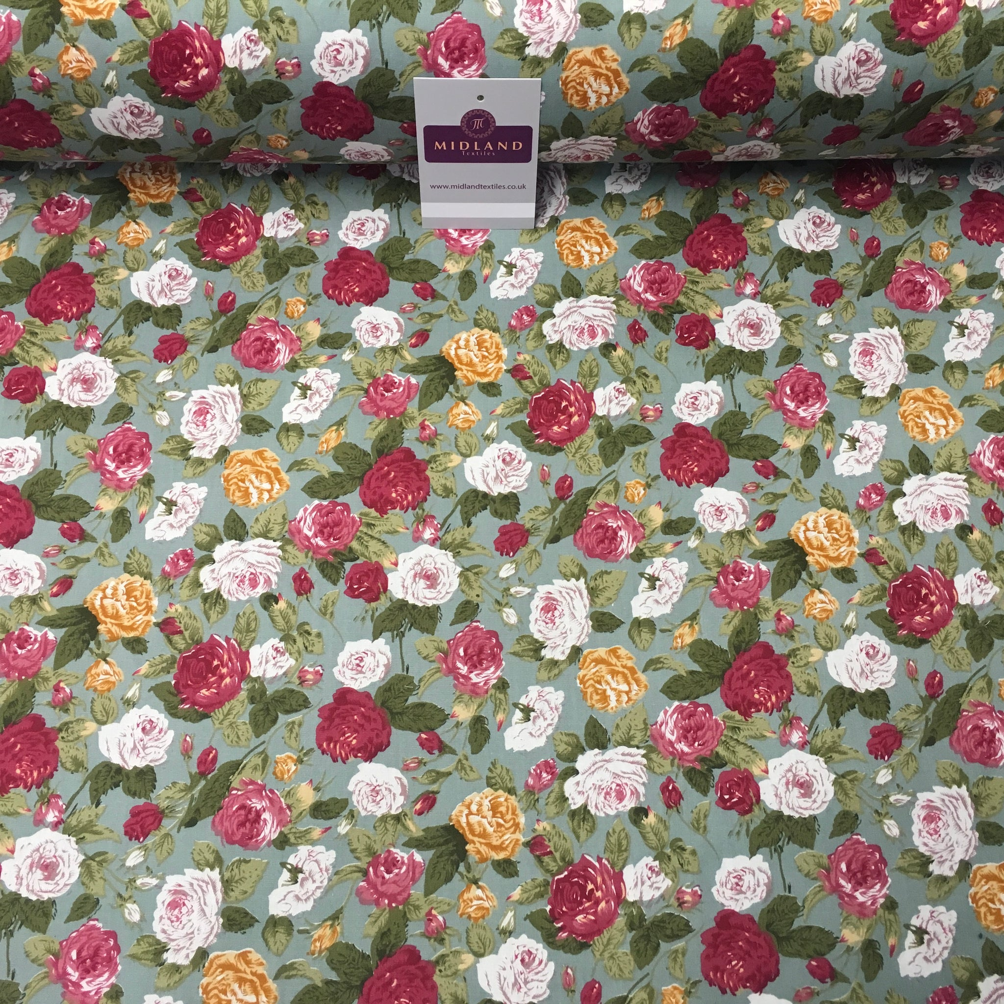 "Floral Vintage Shabby Chic Printed 100% Cotton Fabric 58"" Wide MA911 Mtex"