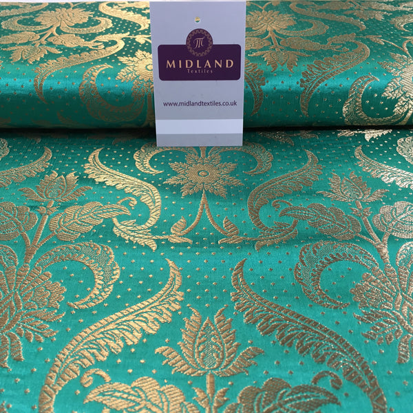 "Indian Floral Ornamental metallic banarsi brocade faux silk fabric 44"" Wide M648 - Midland Textiles & Fabric"