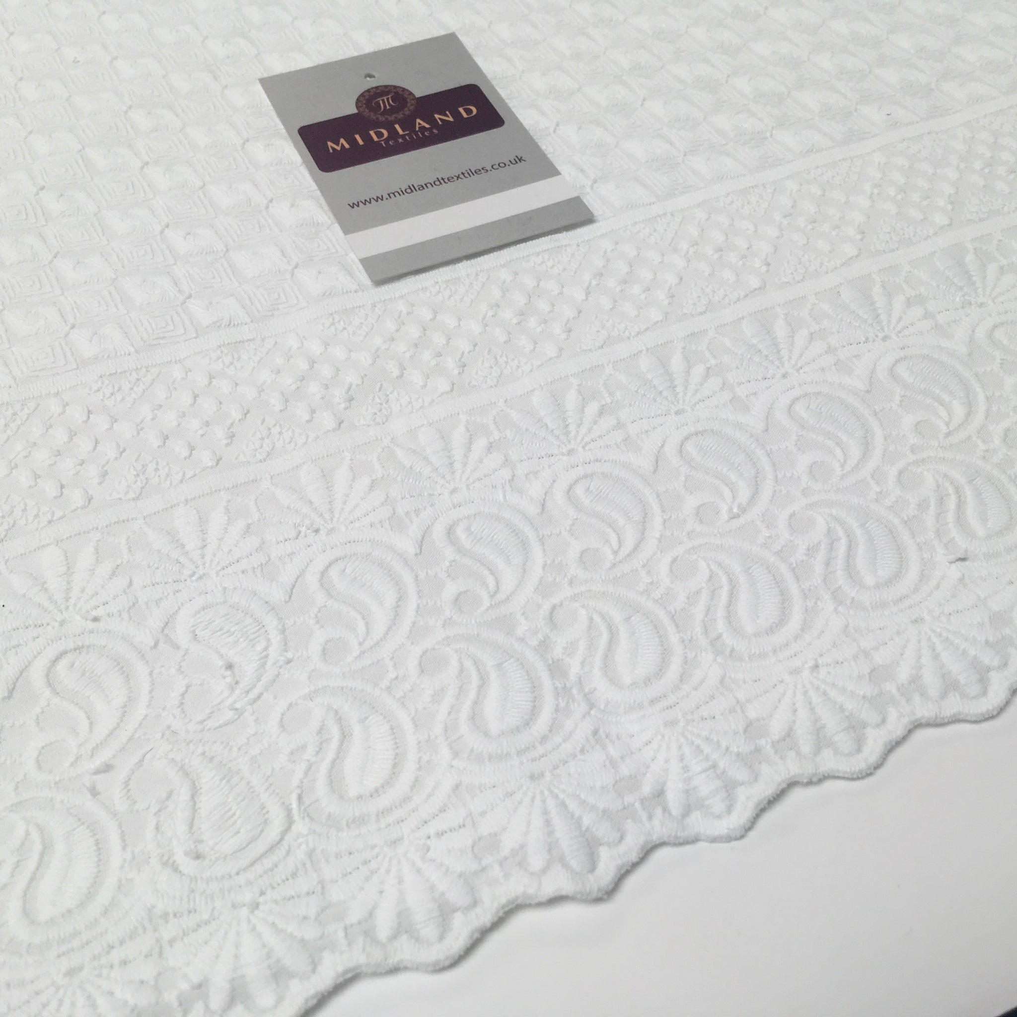 "White on White Embroidery  Cotton Rich Fabric Dressmaking 58"" Wide M169"