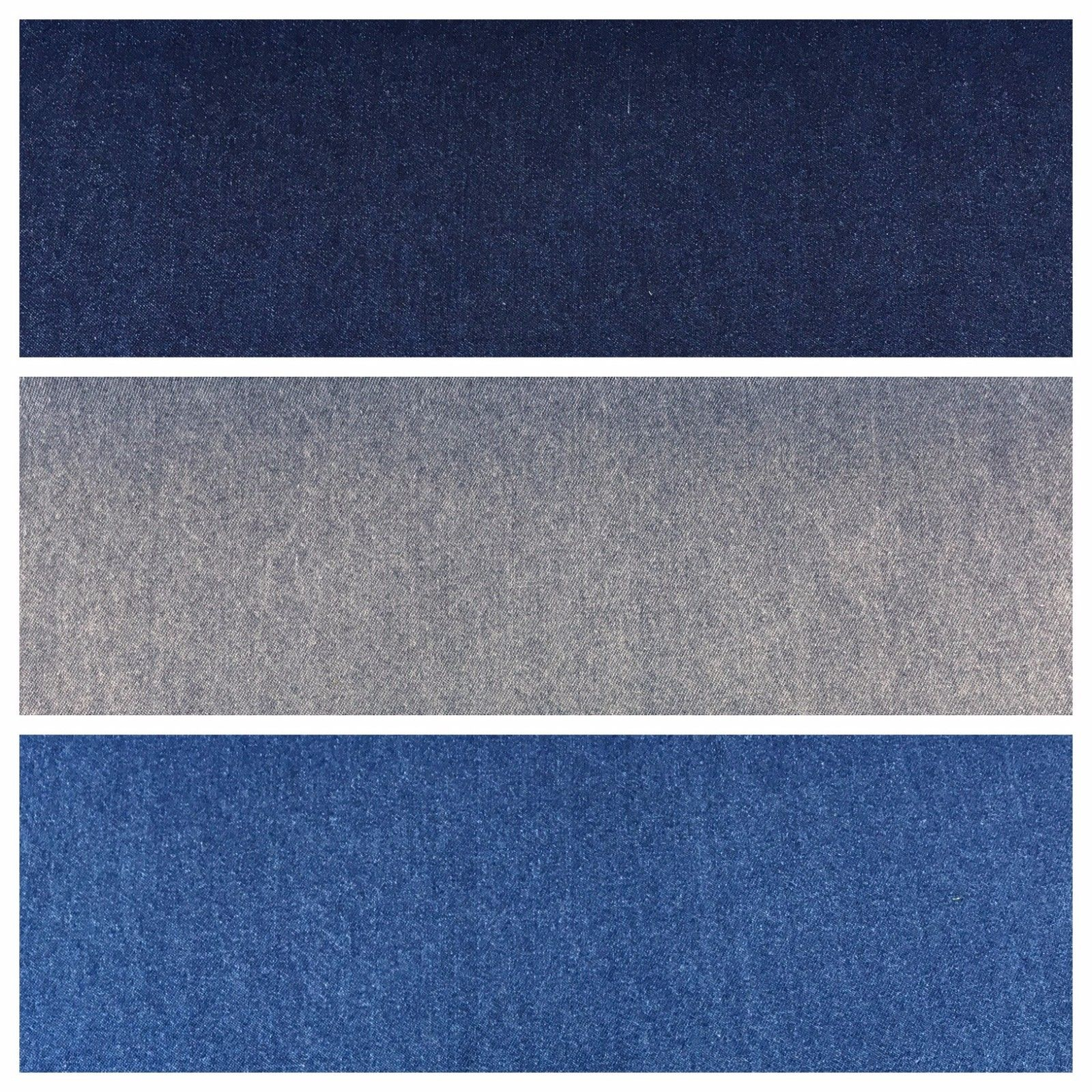 "8oz Washed Denim Light-Medium-Dark Blue Fabric 100% Cotton 58"" Wide M614 Mtex - Midland Textiles & Fabric"