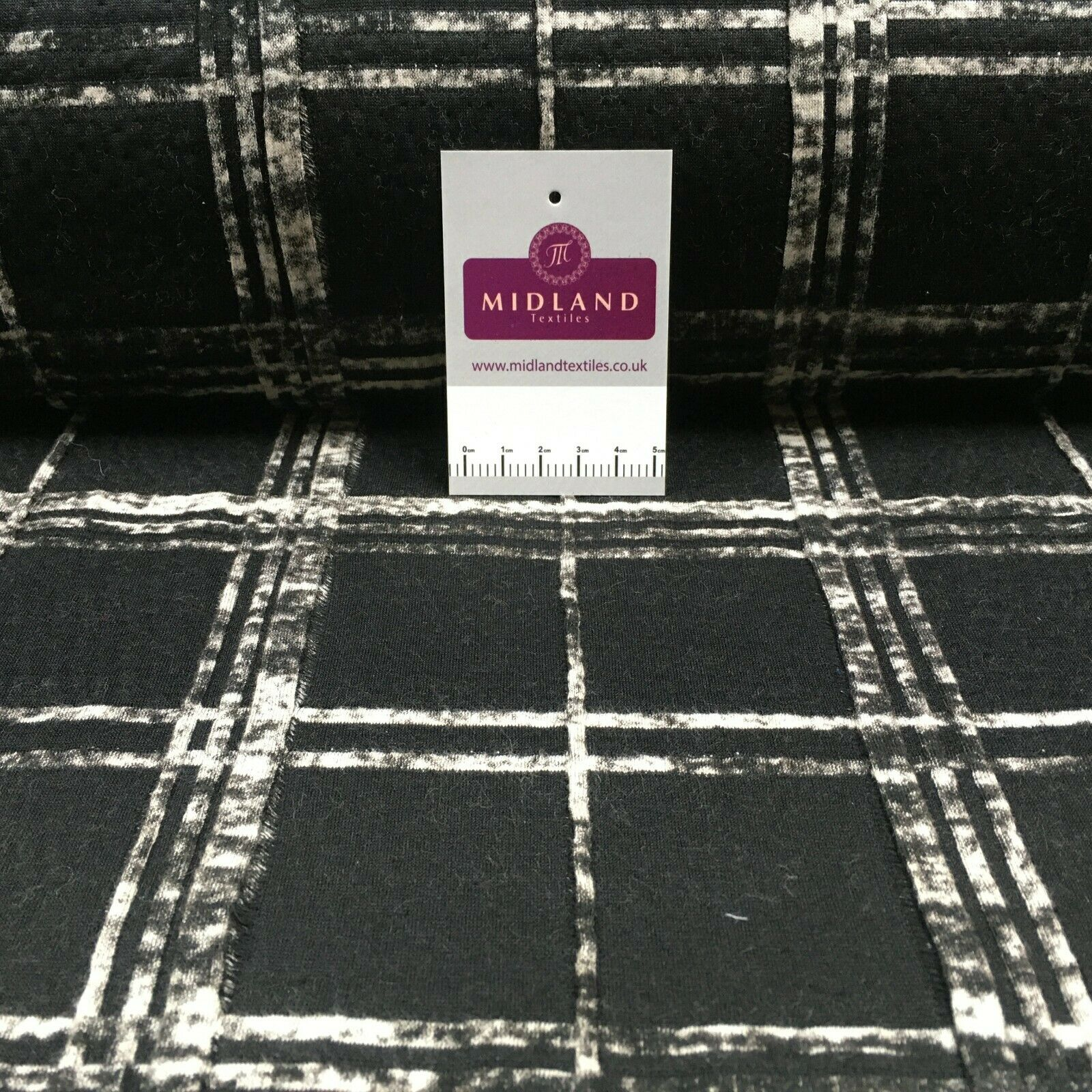 Black check jersey waffle dress Fabric M1400-22 Mtex
